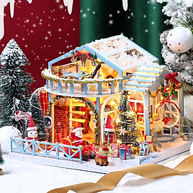 Dollhouse Miniature DIY House Kit Creative Room with Furniture and Cover for Romantic Artwork Gift(Christmas Eve)