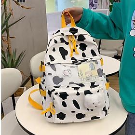 Balo nữ bò sữa canvas đi học laptop sinh viên học sinh cặp Ulzzang Thời Trang Hàn Quốc ( tặng phụ kiện gấu và sticker)