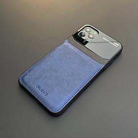 Ốp lưng da kính cao cấp dành cho iPhone 11 Pro Max - Màu xanh - Hàng nhập khẩu - DELICATE