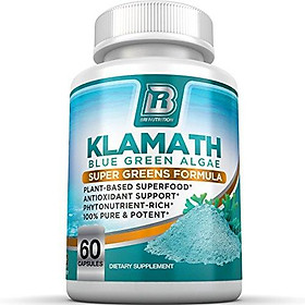 BRI Nutrition Klamath Blue Green Algae - More Effective Than Spirulina or Chlorella - from The Clean Pure Source of Klamath Lake, 500mg 60ct Gel Capsules