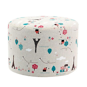 Round Shape Linen Fabric Footstool Cover Mini Chair Sofa Slipcover for Wooden Stool ,Stools is not included.