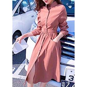 Đầm hồng ruốc tay dài kèm belt