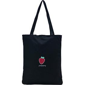 Túi Vải Đeo Vai Tote Bag Dâu Đen XinhStore
