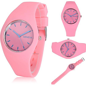 Geneva Watch Wrist Watches Jelly Silicone Watchband Male Female Colorful