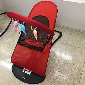 Ghế rung nhún nằm chơi cho bé có thanh treo đồ chơi ( Tặng 01 lục lạc gỗ phát tiếng vui nhộn cho bé )