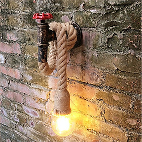 E27 Vintage Industrial Hemp Rope Pipe Wall Light Lamp Sconce Fixture