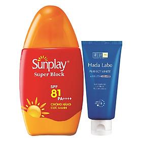 Sữa Chống Nắng Sunplay Cực Mạnh Sunplay Super Block SPF 81 PA++++ (30g) + Tặng Kem Rửa Mặt Hada Labo (25g)