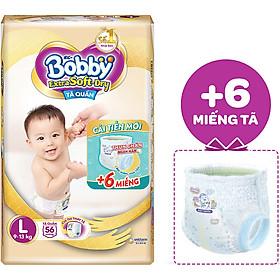 Tã Quần Cao Cấp Bobby Extra Soft Dry L56 ( 56 Miếng) - Tặng 6 Miếng Trong Gói