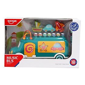Đồ chơi thả khối hình xe bus đáng yêu kết hợp kèm đàn gõ đa năng vừa học vừa chơi cho bé Huanger HE8023 (giao màu ngẫu nhiên)