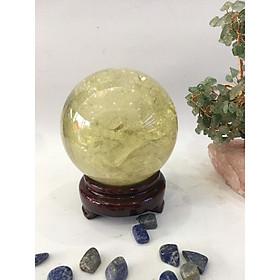 Quả cầu phong thủy Thạch anh vàng 4A - 1,25kg - 10cm (tặng đế)