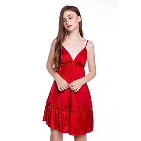 Dreamy-VX04-Váy ngủ lụa cao cấp, váy ngủ nữ, váy ngủ 2 dây, váy ngủ gợi cảm, váy ngủ sexy, đầm ngủ lụa mặc nhà hai dây xếp tầng có 4 màu đỏ, đen, trắng và hồng pastel