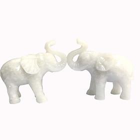 Cặp tượng voi đá trang trí N2 - đá non nước