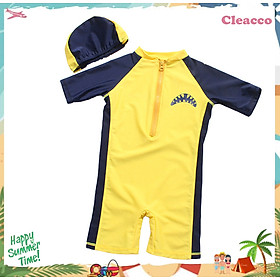 Bộ đồ bơi cho bé chống tia UV lên tới UPF 50++ , form vừa người chất vải co giãn 4 chiều cao cấp , kèm nón bơi vải Cleacco - Hàng chính hãng