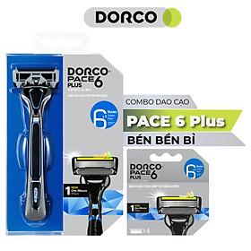 Bộ Dao cạo và Vỉ 04 đầu cạo râu 6 lưỡi DORCO PACE 6 Plus (New)