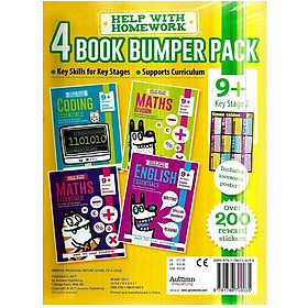 Help With HomeWork - 4 Book Bumper Pack  : Coding Essentials , English Essentials , Maths Essentials and Maths Revision (Ages 9+) (Includes Awesome Poster)