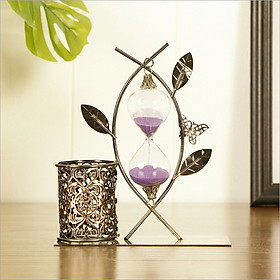 Đồng hồ cát kèm ống đựng bút kim loại phong cách cổ điển mẫu mới , phụ kiện trang trí - quà tặng độc đáo