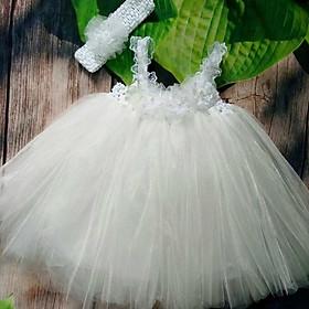 Đầm tutu cho bé ️Đầm tutu trắng hoa voan cho bé gái từ 0 đến 8 tuổi