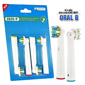 Cho máy Oral B Braun, bộ 4 Đầu Bàn Chải đánh răng điện thay thế MIHOCO EB25-P New Floss Action, đánh tan mảng bám, cao răng, làm sạch vết ố