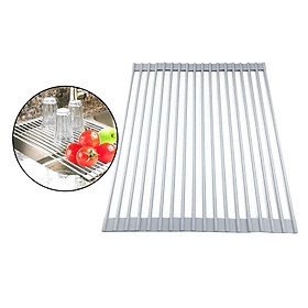 """Dish Drying Rack, Roll Up Sink Drying Rack Over Sink Dish Rack 16""""LX 13""""W Foldable Multi-Use Silicone Coated Dish Drainers Mat"""