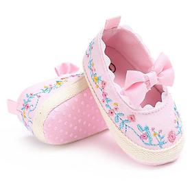 Giày tập đi cho bé gái 0-18 tháng họa tiết thêu phối nơ công chúa – TD2