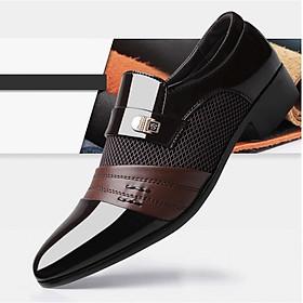 Giày Tây Nam Da Bóng Phối Lưới Cao Cấp TOPEE - Thiết Kế Trẻ Trung (nâu) GLD06