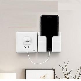 Giá đỡ dán tường treo remote máy lạnh đa năng, kệ treo sạc điện thoại, đầu dây điện tiện lợi giúp không gian gọn gàng