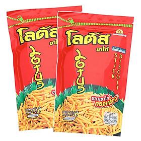 Combo 2 Gói Snack Bim Bim Cực Đại Bánh que Dorkbua Lotus vị Tôm Đỏ (115g x 2 gói) Nhập Khẩu Từ Thái Lan
