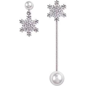 Bông tai ngọc trai bông tuyết bạc s925 dáng dài