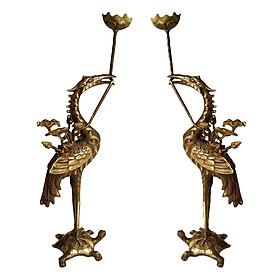 Hình đại diện sản phẩm Đôi hạc thờ hai công nghệ bằng đồng thau phong thủy Tâm Thành Phát