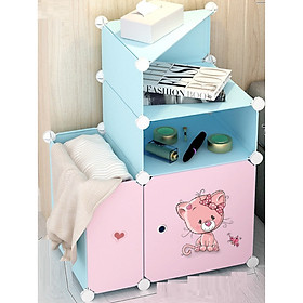 Tủ đầu giường lắp ghép loại đặc biệt - màu xanh trời, cửa hồng hoạt hình ngẫu nhiên