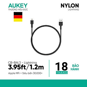 Dây Cáp Sạc Lightning Cho iPhone Chuẩn MFi Aukey CB-BAL3 1.2m - Hàng Chính Hãng