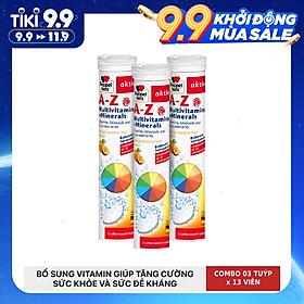 Combo 03 tuýp viên sủi bổ sung 21 Vitamin và khoáng chất Doppelherz A-Z Fizz (Tuýp 13 viên)
