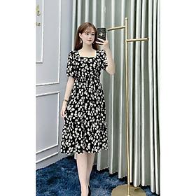Váy Đen Hoa Cúc Cổ Vuông MB164