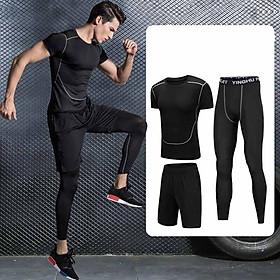 Set 2 in 1 Quần áo gym nam, Quần áo legging nam, Quần áo gym giữ nhiệt nam - Thích hợp tập gym, đá bóng, chạy bộ, bóng rổ hoặc giữ ấm cơ thể - Quần áo tập gym nam chất liệu thun lạnh cao cấp ôm body (không gồm quần đùi) (SP007)
