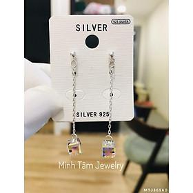 Bông tai pha lê lập phương bạc ta,Bông tai bạc pha lê dáng dài-Minh Tâm Jewelry