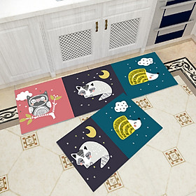 Bộ 2 thảm trang trí, thảm bếp cao cấp GOO14 (40x60 cm và 40x120 cm)