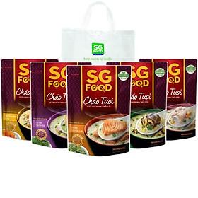 Combo cháo tươi Sài Gòn Food 5 vị (Thịt Bằm, Sườn Non, Lươn, Cá lóc, Cá Hồi) 240g có túi nhựa PE