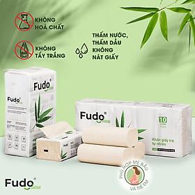 Khăn giấy tre Fudo - Combo 4 Gói Giấy Ăn + 10 Cuộn Giấy Vệ Sinh Không Lõi: 100% bột tre, không tạo mùi, không tẩy trắng, siêu mềm, siêu mịn, siêu dai