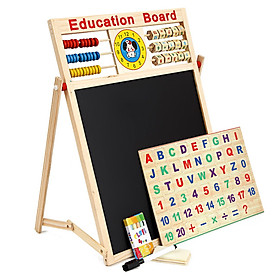 Bảng gỗ từ tính 2 mựt kèm bộ chữ số thông minh cho bé