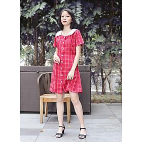 Đầm nữ, váy nữ caro đỏ dễ thương moD001