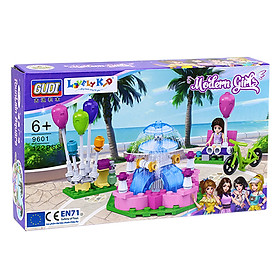 Bộ xếp hình Lovely Kid - Bé gái - Quảng trường phun nước - 9601