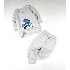 Bộ dài xám mặc phòng máy lạnh in hình khủng long cho bé trai 0.5-1.5 tuổi từ 6 đến 12 kg