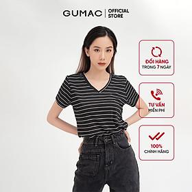 Áo thun nữ sọc cổ tim GUMAC phong cách năng động, trẻ trung ATB410