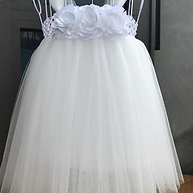 Đầm công chúa cho bé ️Đầm công chúa trắng hoa hồng trắng - váy 10020