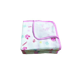 Khăn sữa Pure 100% natural cotton 3 lớp in hình kt 24*28/ 3 layer printed baby cotton gauze handkerchief