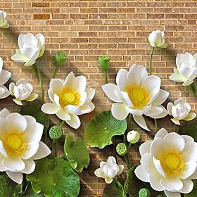Tranh 3D hoa sen trên nền tường gạch