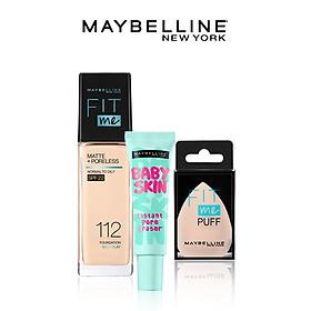 Kem nền kiềm dầu chống nắng Fit Me, kem lót mịn da Baby Skin & mút tán nền cao cấp Maybelline New York - 112 NATURAL IVORY