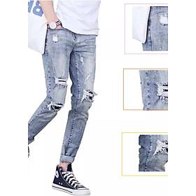 Quần Jean Nam Rách Gối Quần Jeans Nam Rách Phong cách Hàn -2606