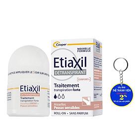 Lăn khử mùi Etiaxil Détranspirant Traitement Confort+ Aisselles Peaux Sensibles 15ml (Dành cho da siêu nhạy cảm) Tặng móc khóa