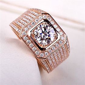 Nhẫn nam vàng hồng 18K mạ vàng hồng 2 Carat QYP0038